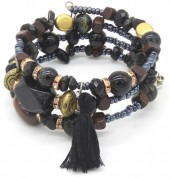 B102-001 Wrap Bracelet with Real Stones Black