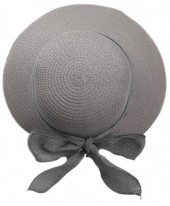 R-H2.1  HAT504-009D Hat with Ribbon Grey