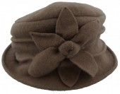 K-A5.1  Woolen Hat with Large Flower Light Brown