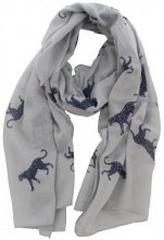 X-G7.2 S205-001 Scarf with Leopards and Glitters 70x180cm Grey