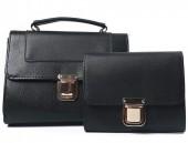 K-F2.1 BAG419-001C PU Bag Set Snake 2pcs 26.5x19x8.5cm Black
