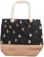 Y-E6.3 BAG530-003 Beach Bag Anchors Gold-BlackY-E6.3 BAG530-003 Beach Bag Anchors Gold-Black