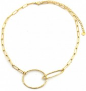 E-B2.2 N2033-007S S. Steel Chain Necklace with Circles Gold