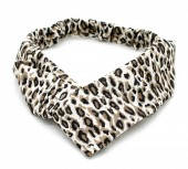 S-F6.1  H039-004 Headband with Leopard Print White-Brown