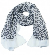 S205-003 Scarf with Animal Print and Glitters 70x180cm Blue