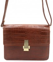 Y-D1.3 BAG006-002C PU Bag Croco 19.5x15x6cm Brown