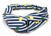 S-K2.2  H040-001 Headband with Stripes-Pineapples-Lemons Blue-White