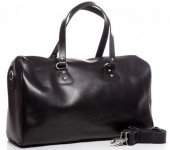 K-E3.1 BAG-921 Luxury Leather Travel-Sport Bag 47x32x16cm Black