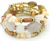 B102-005 Wrap Bracelet with Real Stones Gold-Brown