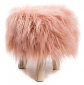 Y-F4.2 ST002-001A Stool with Fake Fur Pink 31x34cm