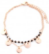E-A16.3 B426-002 Bracelet with Black Beads and Coins Rose Gold