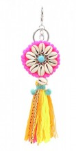 KY219-006 Key-Bag Chain with Tassels and Shells Multi Color