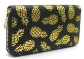 R-G2.1 WA529-002B PU Wallet Pineapples 19x10cm Black