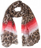 X-F7.2 SCARF507-006A Scarf with Animal Print and Lines 180x90cm