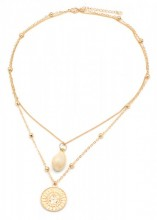 G-C21.1  N304-047 Necklace 2 Layers with Plated Shell and Sun Gold