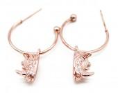 B-E19.4  E426-012 Earrings 20mm with Rhino 14mm Rose Gold