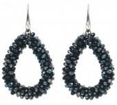 F-A6.3 E007-001O Facet Glass Beads 4.5x3.5cm Black-Multi