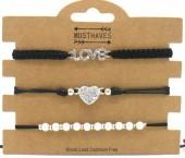 F-E22.1 B2001-056A Bracelet Set 3pcs Love-Heart-Pearls Black