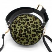 Z-D2.3 BAG212-001 Combination Bum-Shoulder Bag Leopard incl Belt 14x14x6cm Black-Green