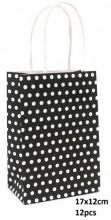 Y-B1.4 PK525-005B Paper Giftbag Dots 17x12cm Black-White 12pcs