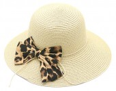 Z-E3.4 HAT504-036B Hat with Leopard Bow Light Brown