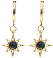 G-E2.4 E532-003G Earrings Sun Black-Gold