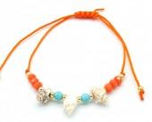 A-B9.1 B221-008 Rope Bracelet with Shells Orange