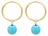 G-B5.2  E2019-039G Earrings Turqoise 1.5x2cm Gold