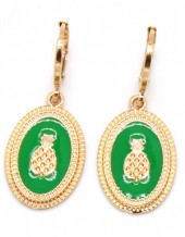 A-C5.3 E304-028 Metal Earrings Pineapple 3x1cm Gold-Green