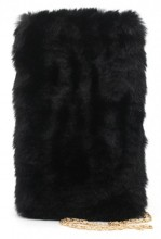T-M8.1 BAG005-001 Fluffy Pouch with  Chain 21x14cm Black