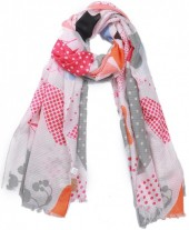 X-M7.1 SCARF510-003A Scarf Leaves and Flowers 180x90cm Pink
