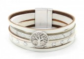B218-001 Leather Bracelet with Stars and Tree of Life White