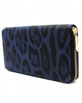 WA011-001 Wallet with Leopard Print 19x10cm Blue