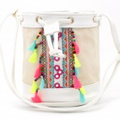 Y-C5.4 BAG216-002 Ibiza Style Bag with Tassels White