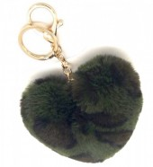 S-D5.4 KY414-001D Fluffy Keychain 10cm Heart Leopard Green