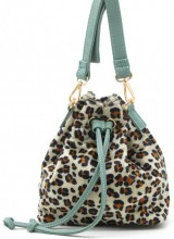 Q-L4.2  BAG202-009 PU Bag with Leopard Print 19x18x10cm White-Light Blue