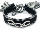 A-C6.2 B2040-005SB Woven Bracelet with S. Steel Chain  Black-Silver