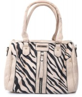 Y-B4.3 BAG418-001 PU Bag with Zebra Print Hide 30x22x11cm Beige
