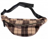 T-B6.1  BAG120-005 Trendy Waist Bag with Checkered Fabric Brown