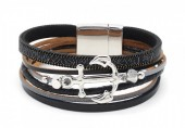 B218-002 Leather Bracelet with Anchor Black