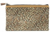 L-E4.2 BAG1824-005 Make Up Bag with Leopard Print and Tassel 22x13.5cm Light Brown