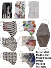 Cotton Mask - Made in Italy - 10 Designs Mixed - Machine Washable - 100pcs