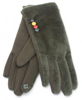 S-C7.3  GLOVE403-005B Fluffy Gloves With Colored Buttons Green