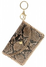 G-C17.2 WA520-003 Wallet Keychain Snake with Golden Chain Brown