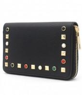 WA214-003 PU Wallet with Studs Black