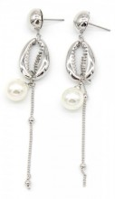 B-E19.1 E304-034 Earrings with Metal Shell and Pearl 8.5x2cm Silver
