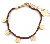 J-D10.3  B2039-018B Bracelet with Glass Beads and Coins Brown