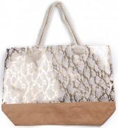 Q-J2.2 BAG217-020 Beach Bag Wicker Snake Pink-Gold