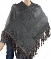 R-G7.2 Poncho with Suedine Fringes Grey
