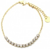 B-A17.1 B301-031G S. Steel Bracelet with Crystals Gold